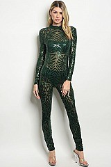 Long Tulle Mesh Sleeve  Sequins Jumpsuit - Pack of 6 Pieces