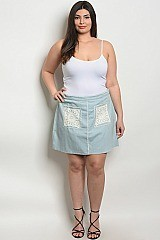Plus Size Fitted Waist Pocket Detail Denim Skirt - Pack of 6 Pieces