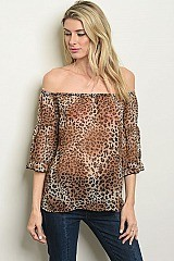 3/4 Sleeve Off the Shoulder Leopard Tunic Blouse - Pack of 6 Pieces