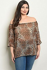 Plus Size 3/4 Sleeve Off The Shoulder Leopard Tunic Top - Pack of 6 Pieces
