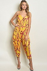 Sleeveless V-neck Printed Loose Fit Jumpsuit - Pack of 6 Pieces