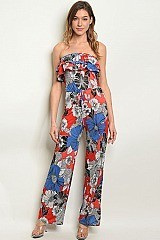Sleeveless Tube Top Ruffled Floral Jumpsuit - Pack of 6 Pieces