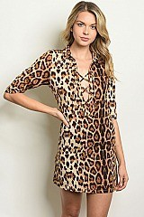 3/4 Sleeve Lace up Leopard Print Tunic Dress - Pack of 6 Pieces