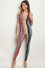 Sleeveless Fitted Striped Jumpsuit - Pack of 6 Pieces