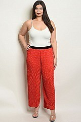 Plus Size Elastic Waistband Polka Dot Pants - Pack of 6 Pieces