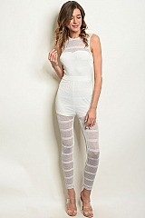 Sleeveless High Neck Full Mesh Jumpsuit - Pack of 6 Pieces