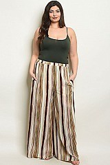 Plus Size Elastic Waistband Striped Wide Leg Pants - Pack of 6 Pieces