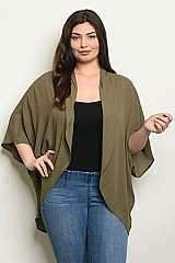 Plus Size 3/4 Sleeve Open Front Kimono - Pack of 6 Pieces