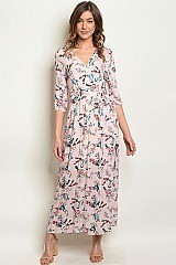 V-neck Floral Print Wrap Maxi Dress - Pack of 6 Pieces