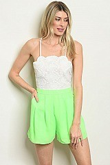 Sleeveless Lace Top and Neon Shorts Romper - Pack of 6 Pieces