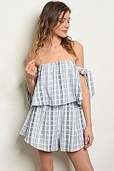 Short Sleeve Off The Shoulder Striped Ruffled Romper - Pack of 6 Pieces