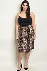Plus Size Fitted Waist Leopard Print Mini Skirt - Pack of 6 Pieces