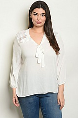 Plus Size Long Sleeve V-neck Tunic Blouse - Pack of 6 Pieces