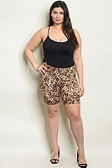 Plus Size Elastic Waistband Leopard Biker Shorts - Pack of 6 Pieces