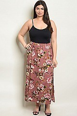 Plus Size Fitted Waist Side Slit Floral Skirt - Pack of 6 Pieces