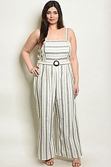 Plus Size Sleeveless Belted Linen Blend Striped Jumpsuit - Pack of 7 Pieces