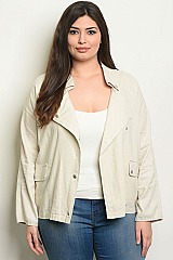 Plus Size Long Sleeve Linen Blend Utility Jacket - Pack of 6 Pieces