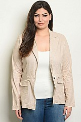 Plus Size Long Sleeve Open Front Linen Blend Blazer - Pack of 6 Pieces