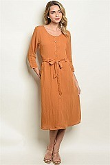 Long Sleeve Full Button Midi Dress - Pack of 6 Pieces