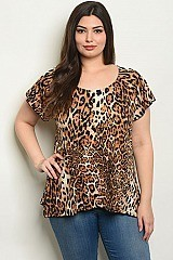 Plus Size Short Sleeve Scoop Neck Animal Print Top - Pack of 6 Pieces