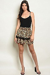Elastic Waistband Ruffled Leopard Skirt - Pack of 6 Pieces