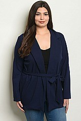 Plus Size Long Sleeves Navy Jacket - Pack of 6 Pieces