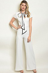 Big Ribbon Neck Tie Jump Suit - Pack of 7 Pieces