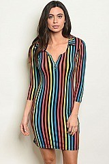 3/4 Sleeve V-neck Striped Bodycon Dress - Pack of 6 Pieces