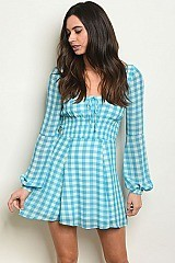 Long Puff Sleeve Babydoll Checkered Tunic Dress - Pack of 6 Pieces