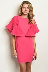 Short Ruffled Sleeve FUCHSIA DRESS - Pack of 6 Pieces