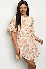SHORT Floral PRINT CREAM DRESS - Pack of 7 Pieces