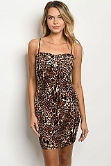 TAUPE BLACK Leopard Print Dress - Pack of 6 Pieces
