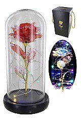 LITTLE PRINCE ROSE LED LIGHTS IN A GLASS AND GIFT BOX