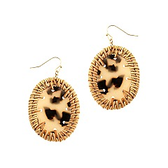 Chic Straw Trim Leopard Print Acrylic Oval Post Earring MH-FE3883