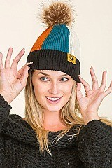 PACK OF 12 FASHION POMPOM MULTI TONE BEANIES