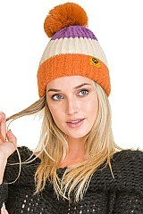 PACK OF 12 MULTI TONE ASSORTED COLOR DETACHABLE POMPOM BEANIES