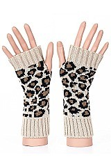 PACK OF 12 ASSORTED COLOR LEOPARD KNITTED GLOVES