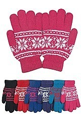 PACK OF 12 CLASSIC ASSORTED COLOR SNOWFLAKE GLOVES