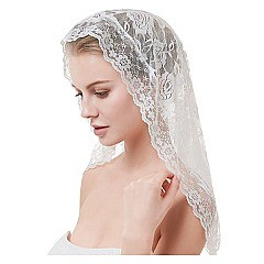 Lace Veil Mantilla Cathedral Head Covering with Bobby Pins