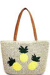 PINEAPPLE DESIGN NATURAL STRAW WOVEN TOTE BAG