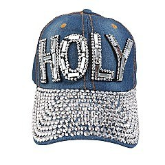 """HOLY"" Full Stoned Bill on Distressed Denim Cap"