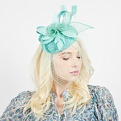 TRENDY SINAMAY FASCINATOR WITH ROSE AND MESH VEIL