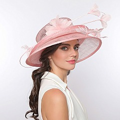 BILAYERED SINAMAY HAT W/ LILY FEATHER FLOWER SLHTS1134