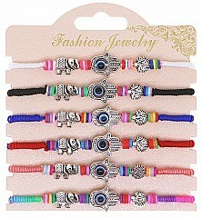 Pack of 6 LUCKY FRIENDSHIP String Protection Bracelet