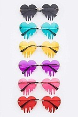 Pack of 12 Iconic Dripping Heart Sunglasses Set