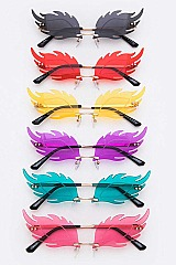 Pack of 12 Feather Cat Eye Iconic Sunglasses