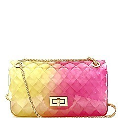 Medium Translucent Embossed Jelly Shoulder Bag