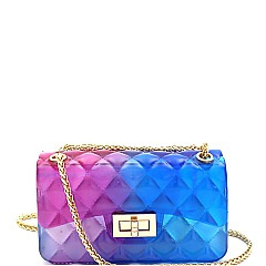 2-Way Small Translucent Embossed Jelly Shoulder Bag