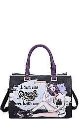 Nicole Lee LOVE ME OR HATE ME LONG STRAP TOTE BAG