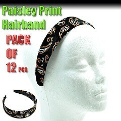 PACKOF 12 PCS. Paisley Hair Band -12 in a pack